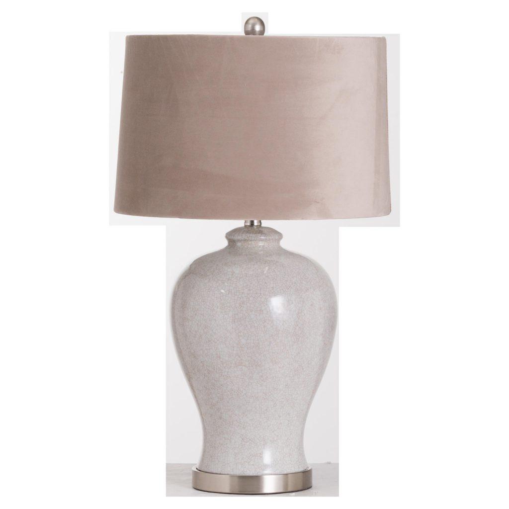 White Stone Effect Ceramic Table Lamp